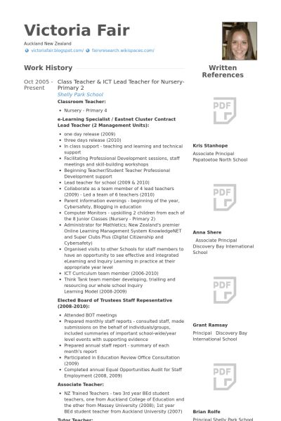 Lead Teacher Resume samples - VisualCV resume samples database