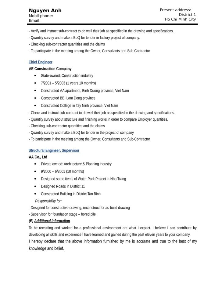 Functional Construction Worker Resume Template | page 4