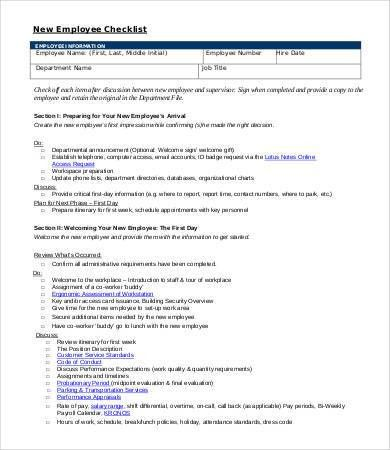 10+ New Employee Checklist Template - Free Sample, Example, Format ...