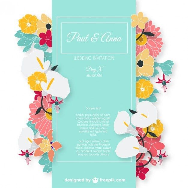 Wedding invitation card with colorful flowers Vector | Free Download