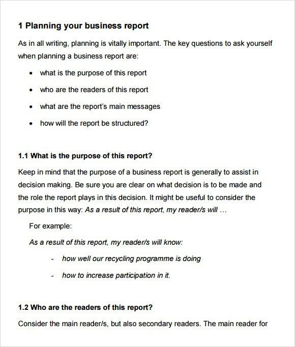 Business Report Sample. Business Report Format Sample Business ...