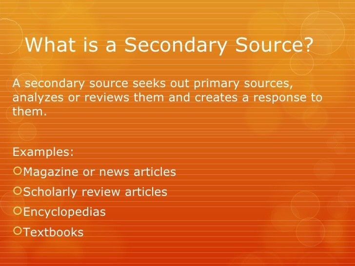 Identifying primary and secondary sources in the sciences