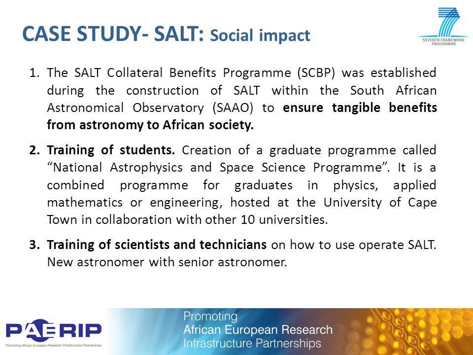 Socio-economic impact of African-European research infrastructure ...