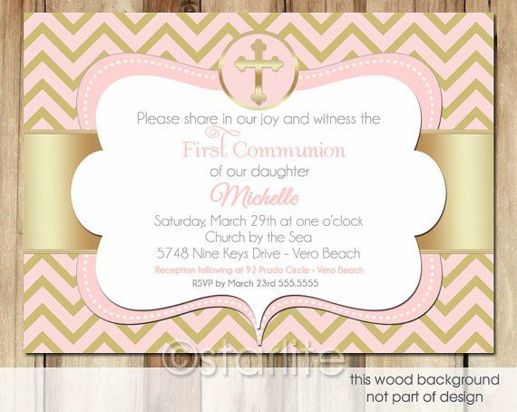 First Communion invitation 1st Communion Chevron Pink by starwedd ...