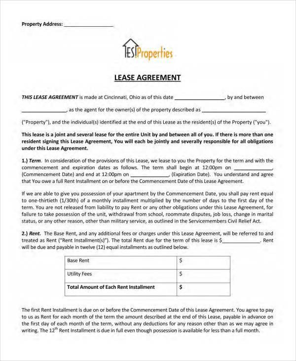 Lease Agreement Form Template