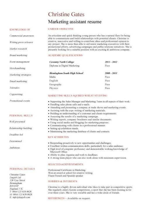 Marketing assistant CV sample