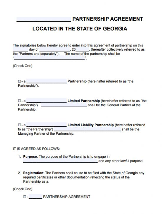 Free Georgia Partnership Agreement Template – (LP/LLP/LLLP) |
