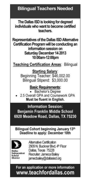 Dallas ISD To Hold Info Session For Alternative Certification ...