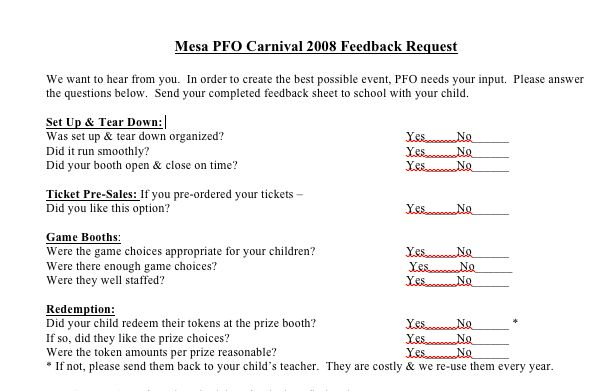 Printable survey to get feedback on your Fall Carnival event from ...