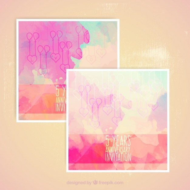 Abstract watercolor anniversary cards Vector | Free Download