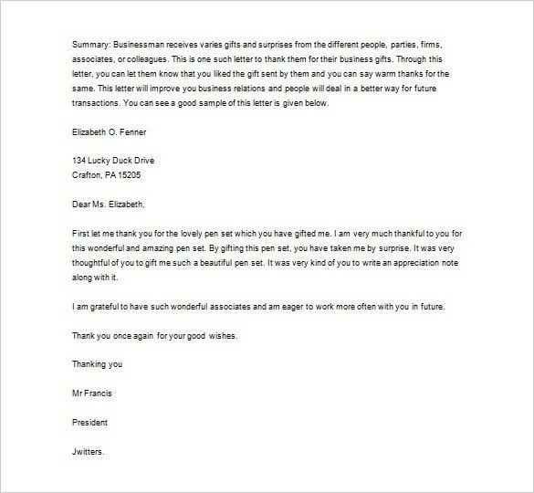 Business Thank You Letter For Gift | The Best Letter Sample