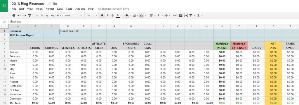 Tracking Blog Income & Expenses with Free Spreadsheet Template ...