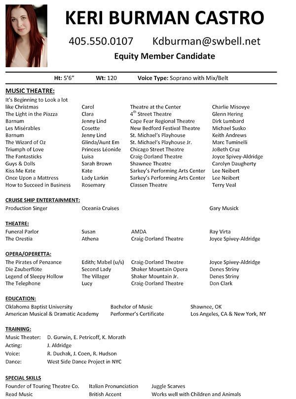 Musical Theatre Audition Resume Theatre Resume Template Word ...
