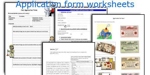 English teaching worksheets: Application form