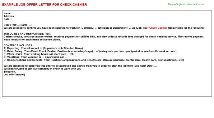 Check Cashier Offer Letter