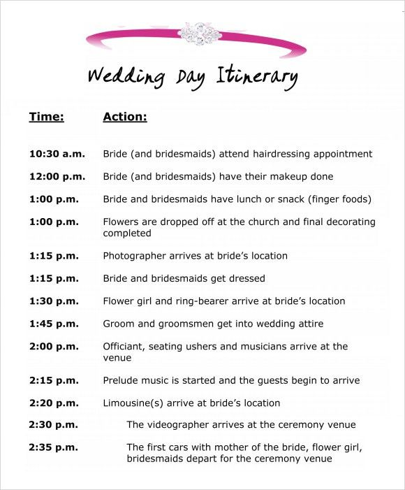 7 Best Images of Wedding Day Itinerary Template Excel - Sample ...