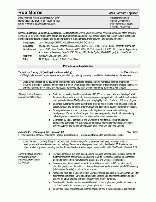 Resume Examples. software engineer resume template senior ...