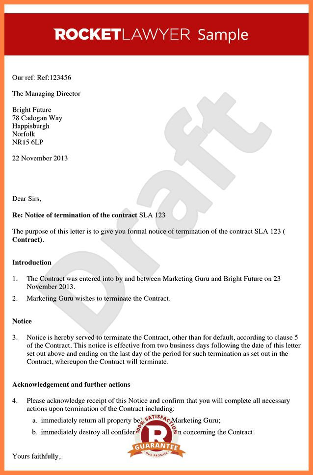 10+ notice of termination of contract letter template | Life ...