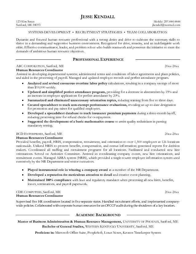 Human Resources (HR) Resume Samples : Vinodomia