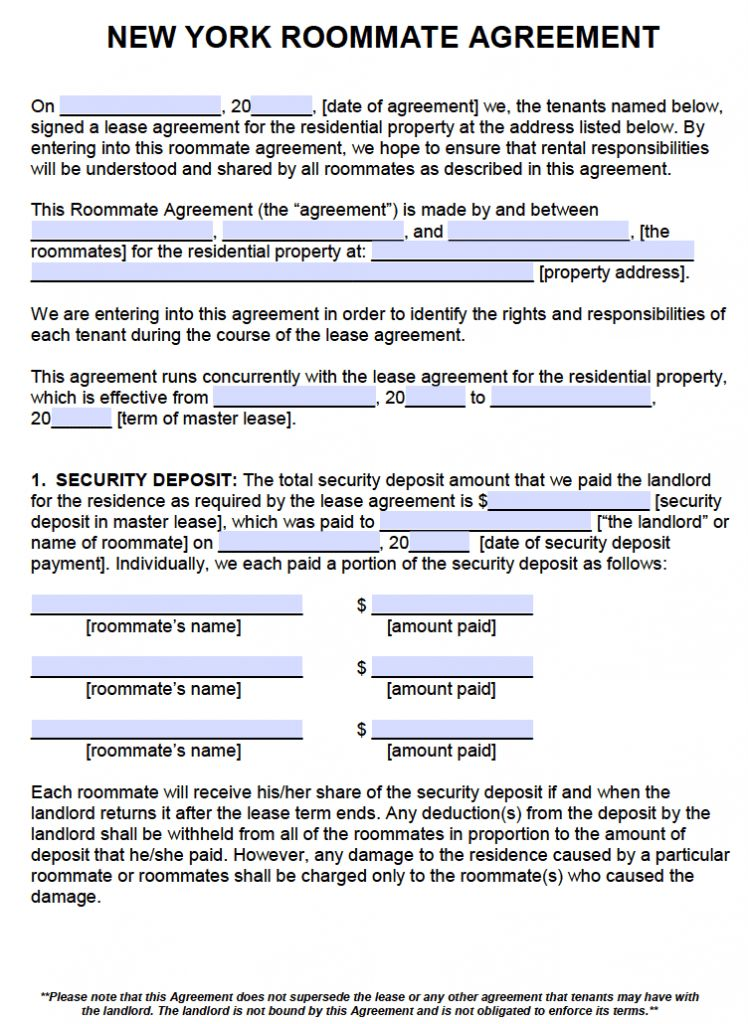Free New York Roommate Agreement Template – PDF – Word
