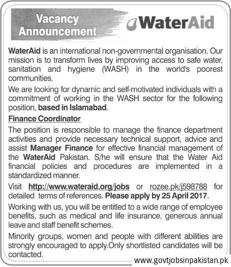 WaterAid Ngo Islamabad Job, Finance Coordinator, Manager Finance ...