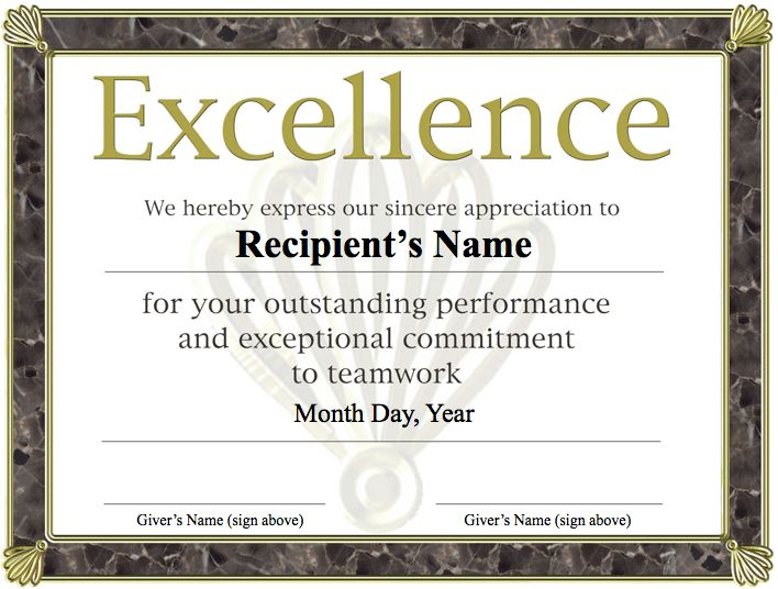 Free Printable Award Certificate Template | Excellence award ...