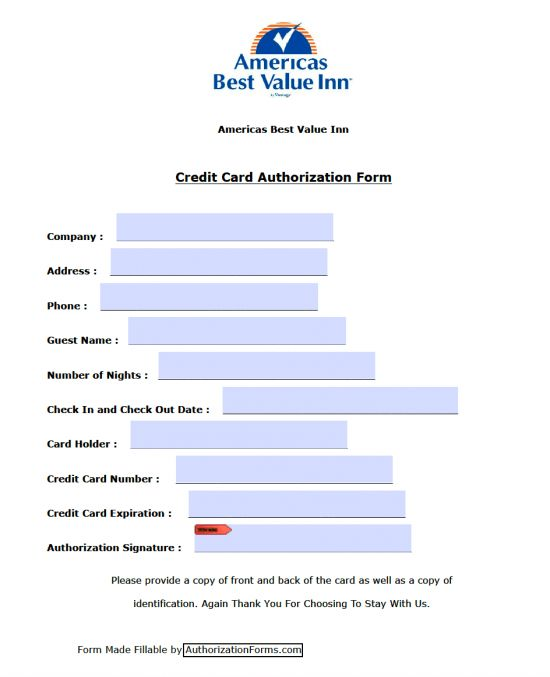 Free America's Best Value Inn Credit Card Authorization Form - PDF