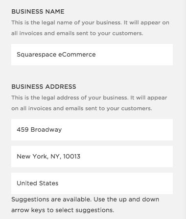 Squarespace Help - Business Information Settings