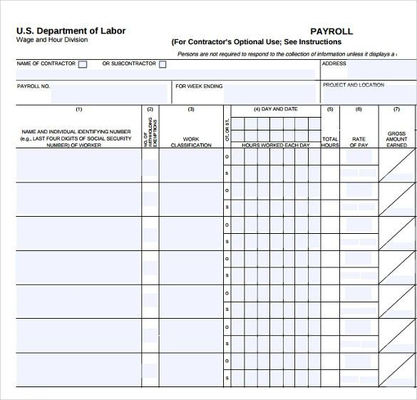 Free Printable Payroll Forms] Payroll Template Free Employee ...