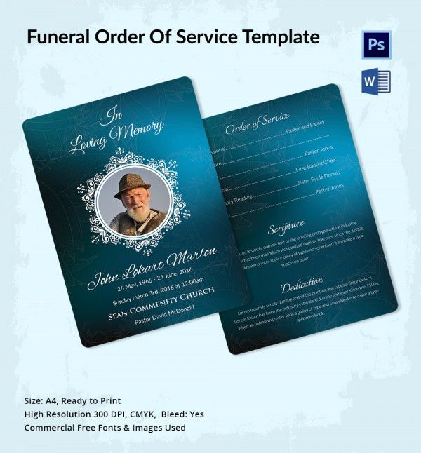 5 Funeral Order of Services - Word, PSD Format Download | Free ...