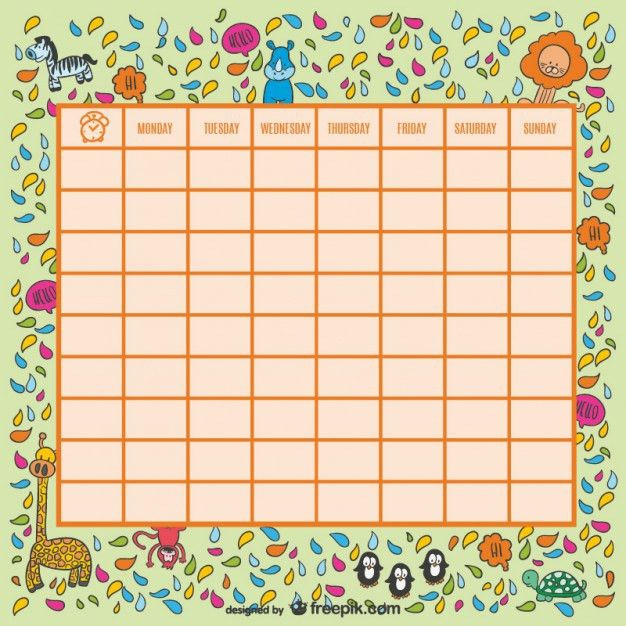 Wild animals school timetable Vector | Free Download