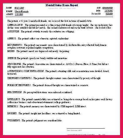 mental status exam checklist   sop examples