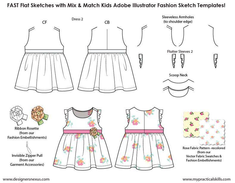 Kids Illustrator Flat Fashion Sketch Templates - My Practical ...