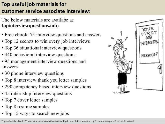 Customer service associate interview questions