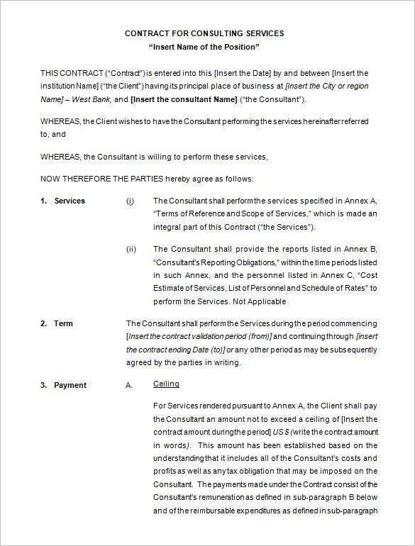 5+ Consulting Contract Templates – Free Word, PDF Documents ...