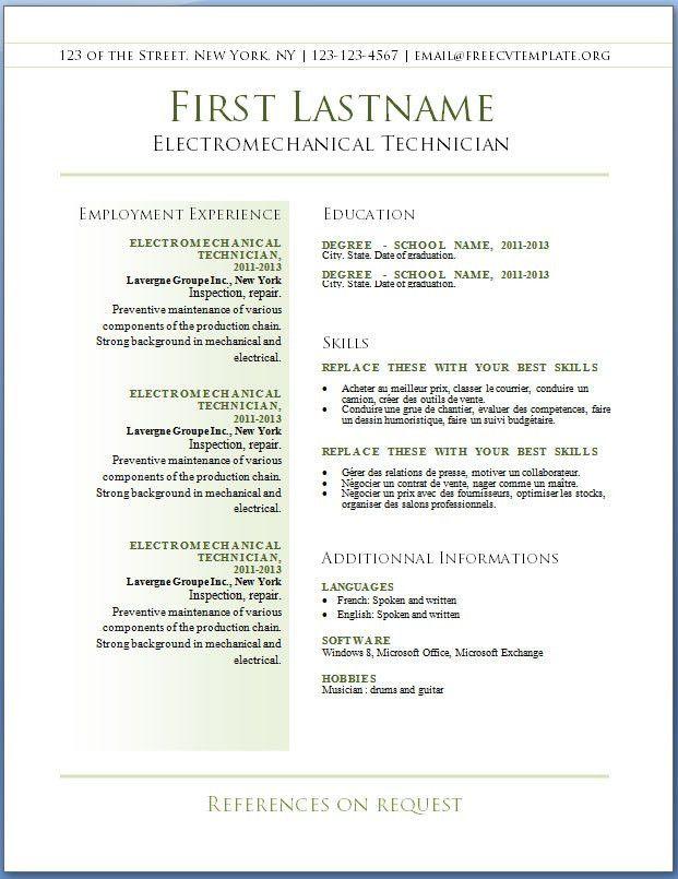 Free CV templates #36 to 42 – Free CV Template dot Org