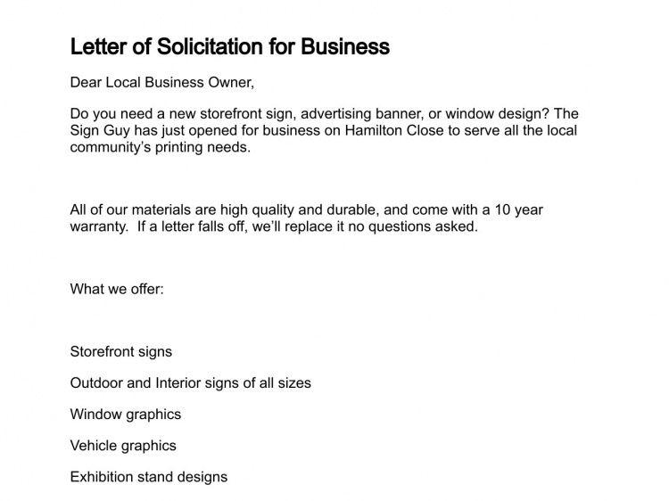 Letter of Solicitation