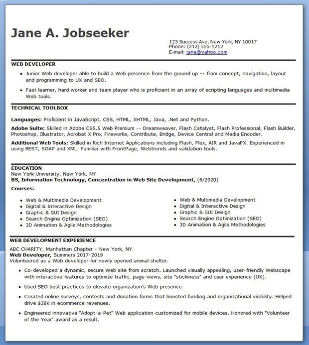 IT Developer Resume Sample (Entry Level) | Creative Resume Design ...