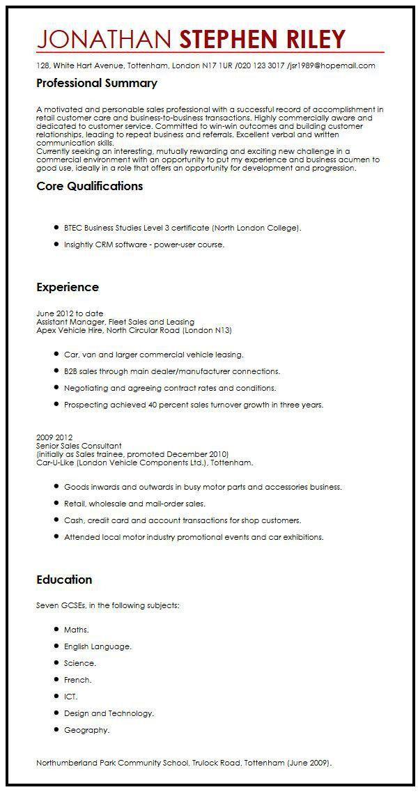 CV Sample For A Summer Job | MyperfectCV