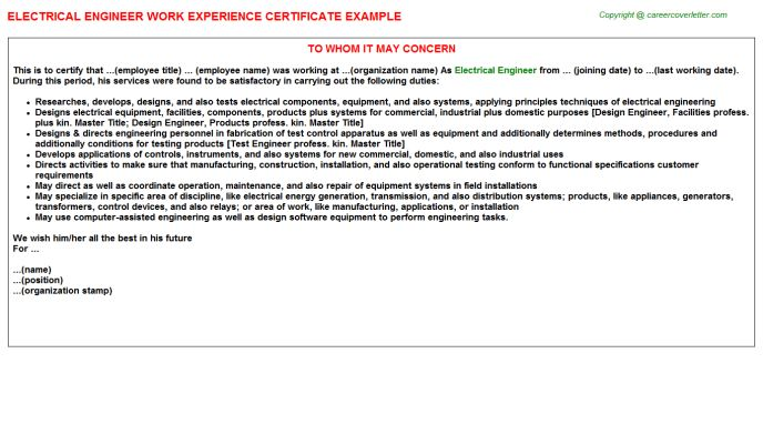 Electrical Engineer Work Experience Certificate