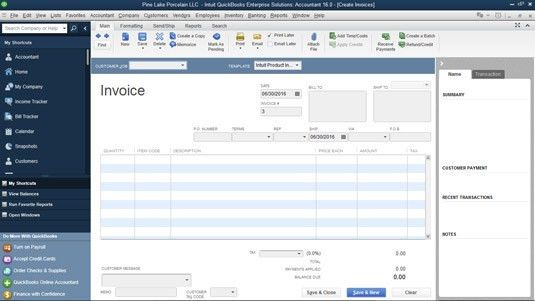 How to Prepare an Invoice in QuickBooks 2016 - dummies