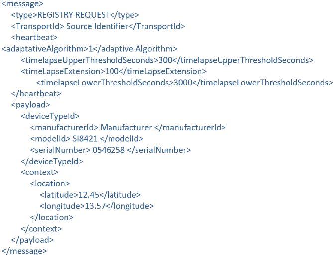 Device registry request XML example.