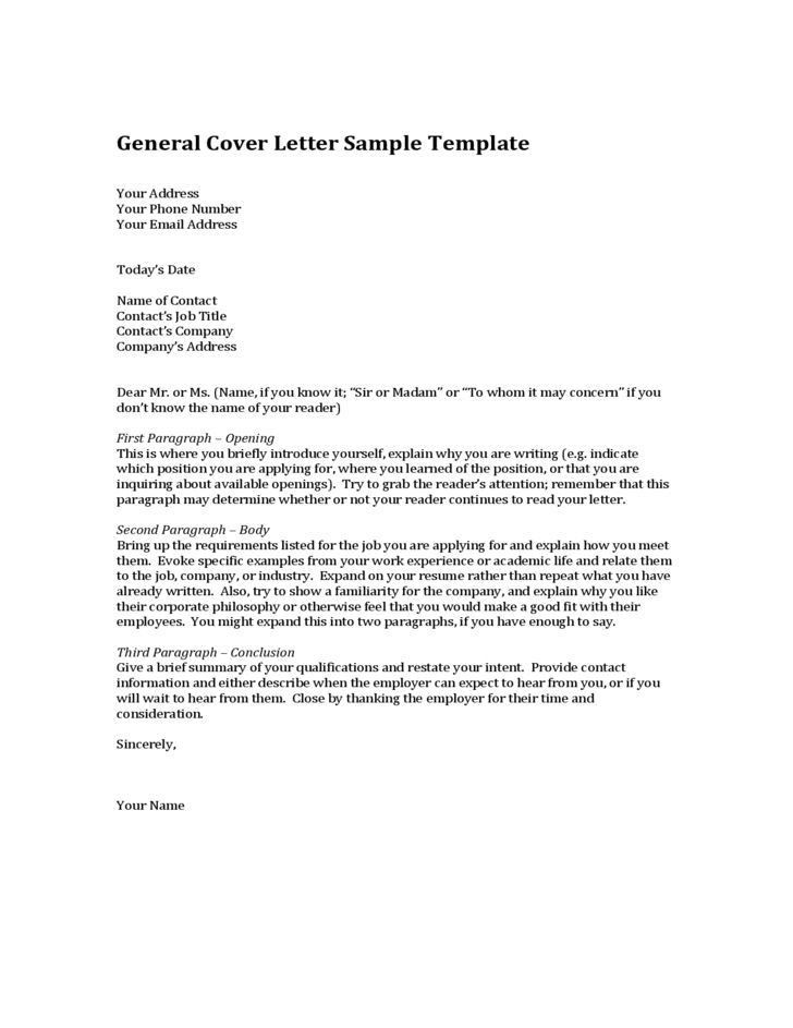 General Cover Letter. Generic Cover Letter General-Cover-Letter ...