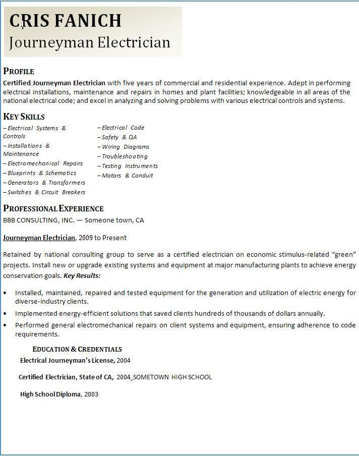 Journeyman Electrician Resume 4 Apprentice Electrician Resume ...