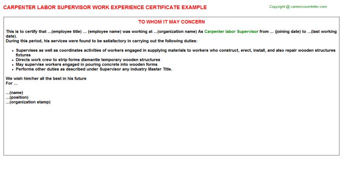 Carpenter Labor Supervisor Work Experience Certificate