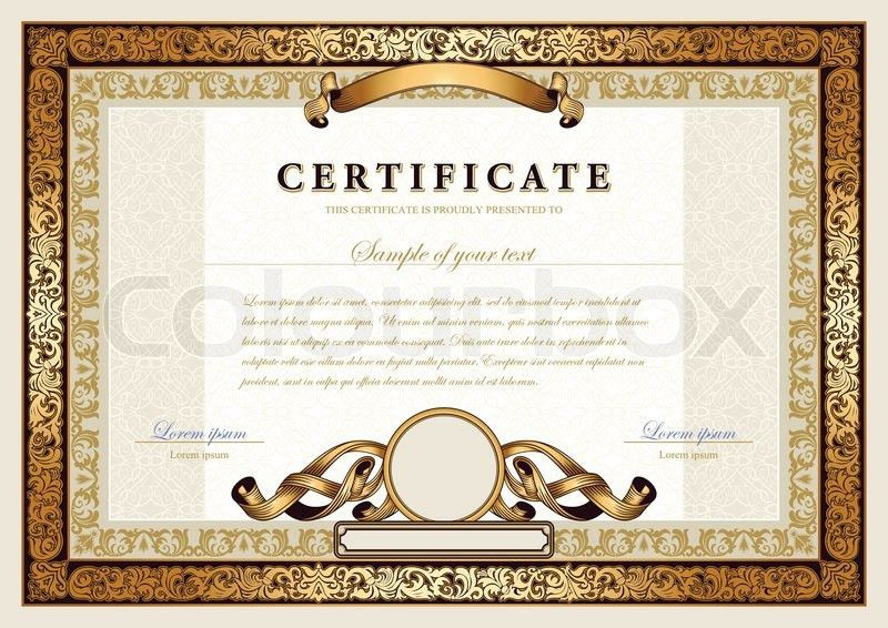 Vintage certificate with gold, luxury, ornamental frames, coupon ...