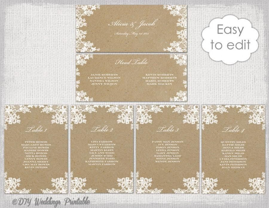 "Seating Chart Template ""Rustic Lace"" Printable Seating Chart Cards ..."