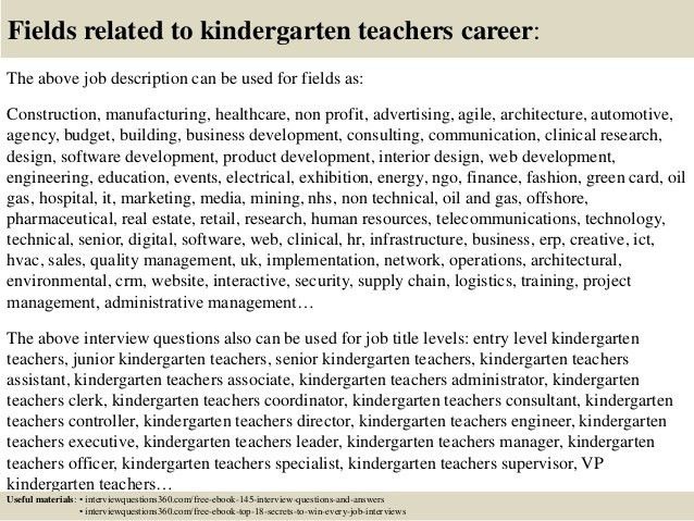 Top 10 kindergarten teachers interview questions and answers