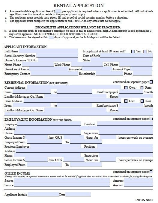 Free Pennsylvania Rental Application Form – PDF Template