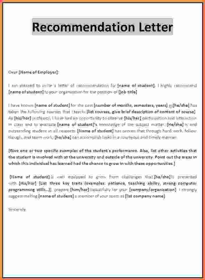 Letter Of Recommendation Template Word.Recommendation Letter ...